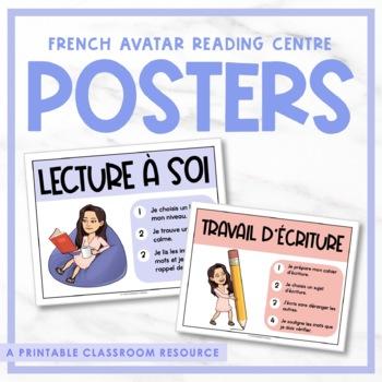 Editable French Bitmoji Reading Centre Posters