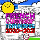 Editable French School Year Calendar Templates 2020-2021