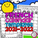 Editable French School Year Calendar Templates 2021-2022