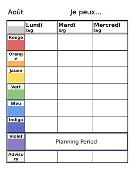 Editable French Weekly Planner