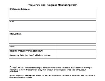 Editable Frequency Goal Progress Monitoring Form