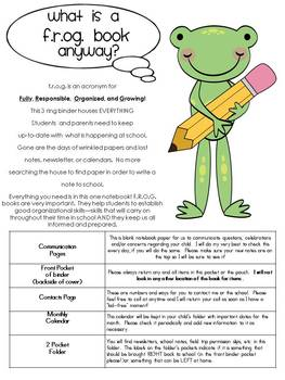 Editable Frog Binder Yearlong Communication Kit for Back to School