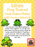 Editable Frog and Polka Dot Themed Name Desk Plates w/Cursive Letters!