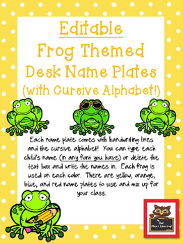 Editable Frog and Polka Dot Themed Name Desk Plates w/Cursive Letters!