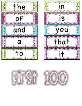 Editable Fry's 100-200-300 Word Wall Cards in Bright Chevron BUNDLED
