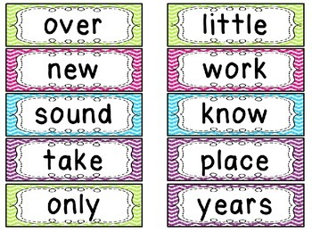 Editable Fry's Second 100 Word Wall Cards in Bright Chevron