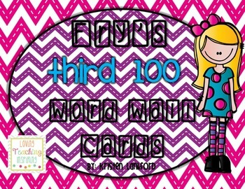 Editable Fry's Third 100 Word Wall Cards in Bright Chevron