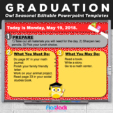 Editable GRADUATION Owl Themed Morning Work PowerPoint Templates
