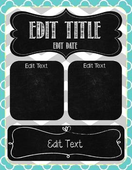 Editable {GRAY   TEAL   CHALKBOARD} Newsletter Template