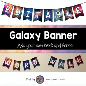 Editable Galaxy Banners with Bunting