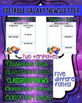 Editable Galaxy Weekly Newsletter Template