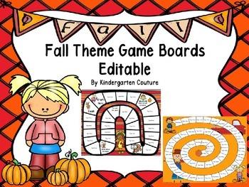 Editable Game Boards -Fall Theme