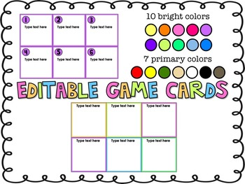 Editable Game Card Template