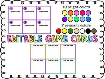 Editable Game Card Template