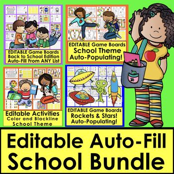 Editable Sight Word Games BUNDLE for Back to School  Auto Fill From ANY LIST