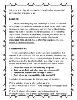 Editable General Information Packet Parent Letter for Kindergarten