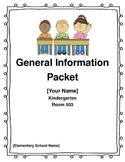 Editable General Information Packet Parent Letter for Kind