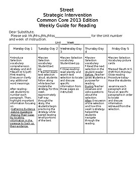 Editable Generic Emergency Substitute Plans for Reading Street 2013 Edition