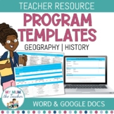 Editable Geography Program Template - K-6