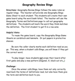 Editable Geography Review Bingo