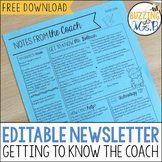 Editable Getting to Know the Coach Newsletter Freebie
