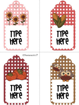 Editable Gift Tags (Large Size)-Fall Gift Tags