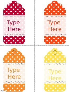 Editable Gift Tags Polka Dot