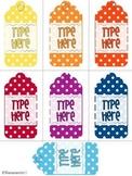 Editable Gift Tags Polka Dot (Medium Size)