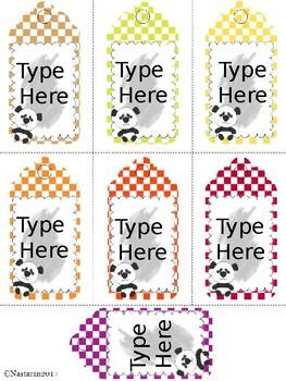 Editable Gift Tags With Panda(Medium Size)