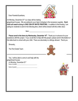 Editable Gingerbread Letter for parents