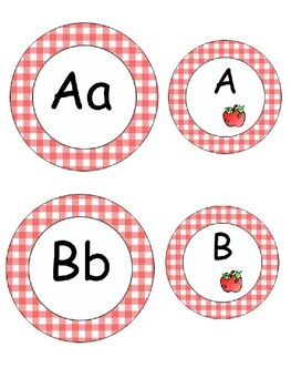 Editable Gingham Apple Labels
