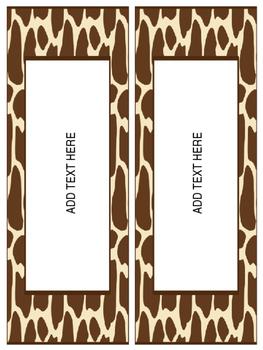 Editable Giraffe Room Theme Template - Additional Resource