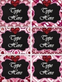 Editable Labels - Editable Valentine's Day{Glitter and Chalkboard}