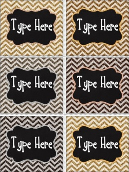 Editable Glitter Chevron Labels