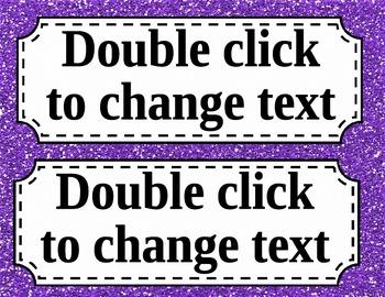 Editable Glitter Nametags **FREEBIE