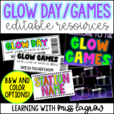 Editable Glow Day Games Activity Decor Pack