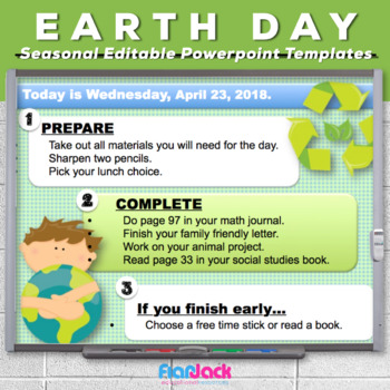 Editable Go Green EARTH DAY Themed Morning Work PowerPoint Templates