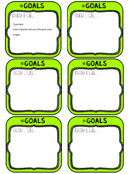 Editable Goal Cards - Designed For Target Square Adhesive Label Holders!