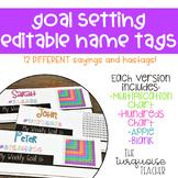 Editable Goal Setting Student Desk Name Tags
