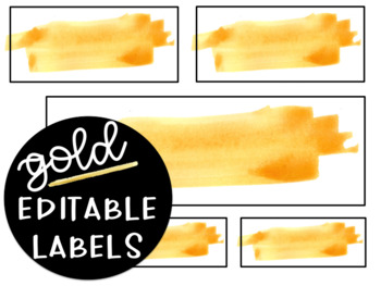 Editable Gold Watercolor Labels