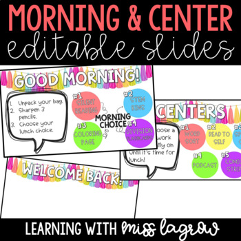 Editable Good Morning / Welcome Back Message Slide Images