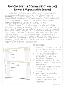 Editable Google Forms Parent/Guardian Communication Log