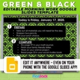 Editable Google Slides Templates | Green And Black
