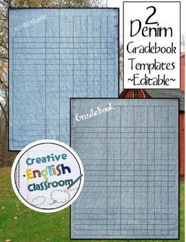 Editable Gradebook Template -- 2  Fun Denim Styles