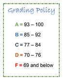 Editable Grading Policy Poster - Free