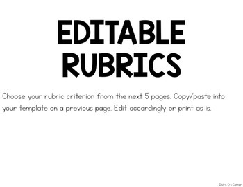 Editable Grading Rubrics for Special Education