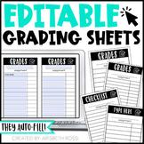 Editable Grading Sheets
