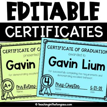 Graduation Certificates EDITABLE