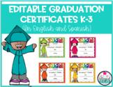 Editable Graduation Certificates English and Spanish K-3
