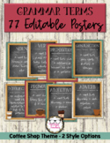 Editable Grammar Posters Coffee Shop Theme 77 Grammar Term